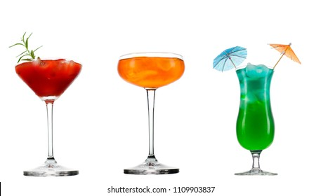 Fresh cold summer cocktail glass of aperol spritz cocktail isolated on white background