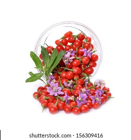 fresh color Tibetan Goji berries in a glass container