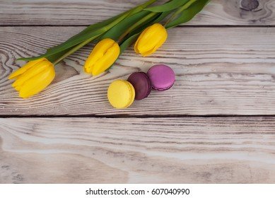 Fresh color tulip on wood desk. Spring flower