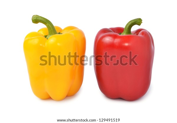 Fresh colored capsicum isolated on white background