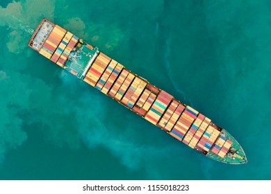 Fresh colorful Container Cargo ship, Logistics and transportation of Container logistics export-import harbor to the International port / Shipping Containers concept. - Top view from drone.