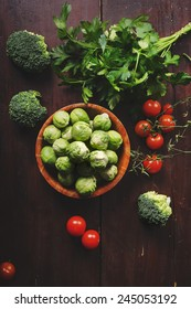 Fresh colorful vegetable on wooden table. Retro style.