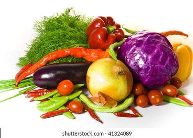 Fresh, colorful vegetables - cabbage, onion, tomatoes, pepper and paprika, haricot, aubergine and dill.