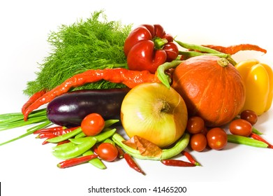 Fresh, colorful vegetables - pumpkin, onion, tomatoes, pepper and paprika, haricot, aubergine and dill.