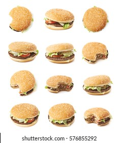 Fresh cooked hamburger isolated over the white background, set of multiple different foreshortenings