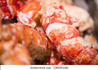 Fresh cooked lobster meat at seafood market