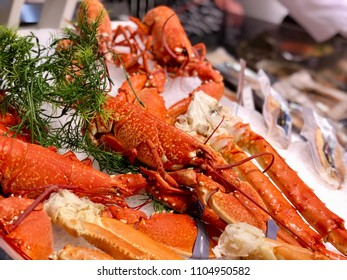 Fresh cooked lobsters on ice