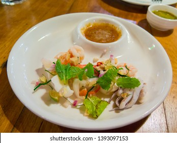 Fresh cooked Seafood Hors D'oeuvre(orderve) or Seafood appetizer serve with herb and seafood sauce, deliciouz and healthy