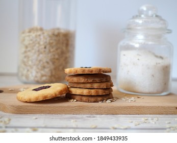 Fresh cookies and glass of sugar