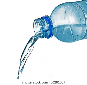 Fresh cool water pouring from a clean plastic water bottle.