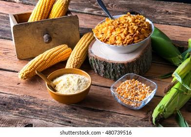 Fresh corn with corn flakes and corn flour