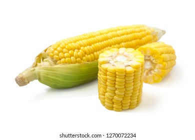 Fresh corn on the cob isolated on white background with clipping path, the concept as the package design, closeup
