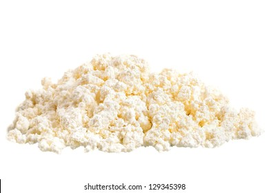 Fresh cottage cheese (curd) heap, isolated on white background.