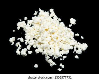 fresh cottage cheese on a black background