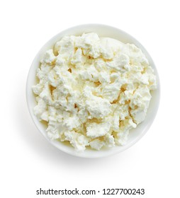 Fresh cottage cheese in white bowl isolated on white background