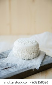 fresh country cottage cheese On Wooden Background, Close Up