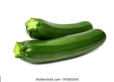 Fresh courgettes zucchini isolated on white background