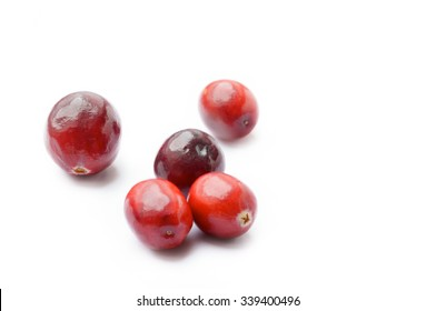 Fresh Cranberries white background