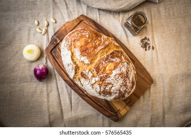 Fresh crispy homebaked bread made of high quality ingredients