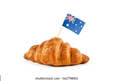 Fresh croissant and australian flag isolated on white background.