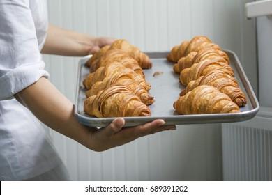 Fresh croissant. Baked croissants