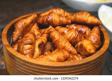 Fresh croissants with crispy crust