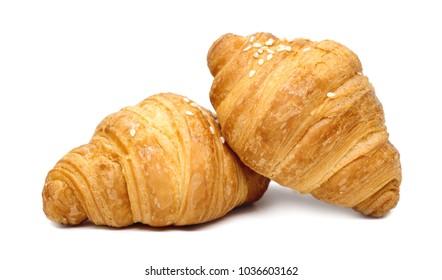 Fresh croissants on white background