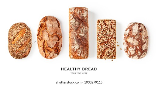Fresh crusty bread creative collection and banner isolated on white background. Whole grain rye and wheat bread with sunflower seeds composition. Healthy eating and dieting concept. Bakery assortment