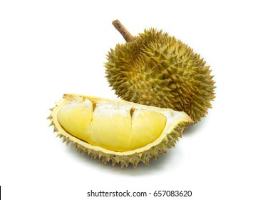 Fresh Cu yellow durian in side Mon Thong durian fruit on white background, a close-up view of Durian.