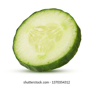 Fresh cucumber slice isolated on white background. Clipping Path. Full depth of field.