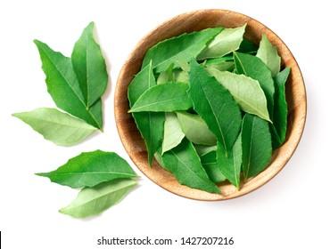 frische Curry-Blätter (Murraya koenigii) in der Holzschüssel einzeln auf weißem Hintergrund, Draufsicht