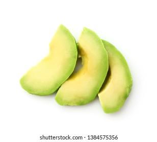 Fresh cut avocado on white background