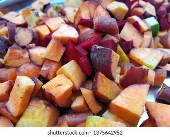 Fresh cut carot pieces in dish