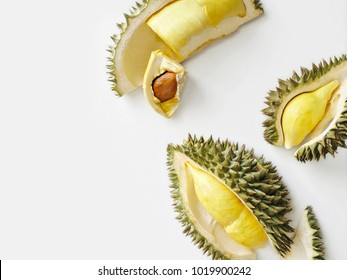 Fresh cut durian on a white background, king of fruit from Thailand
