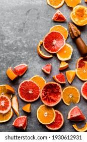 Fresh Cut Fruit. Grapefruit and Oranges showcased in top view.