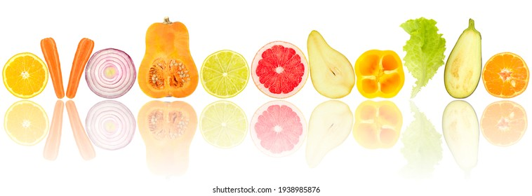 Fresh cut fruits and vegetables with light reflection isolated on white background