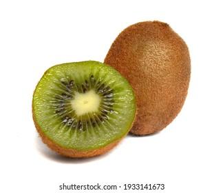 fresh cut green kiwi fruit isolated on white