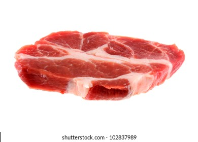 A fresh cut of pork, raw shoulder Buston butt steak meat isolated on a white background