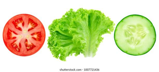 Fresh cut tomato, cucumber and lettuce isolated on white background