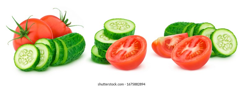 Fresh cut tomato and sliced cucumber isolated on white background with clipping path