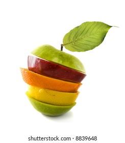 Fresh cutting  orange,apple,lemon  over white background