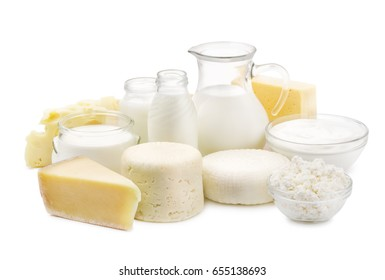 Fresh dairy products  isolated on white