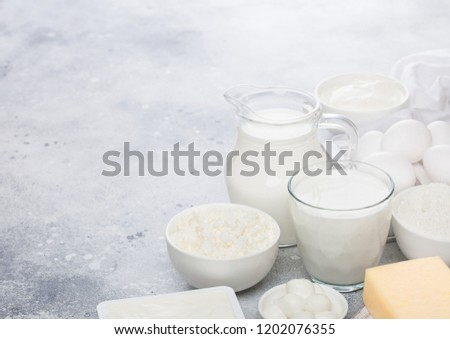 Fresh Dairy Products On White Background Stock Photo (Edit