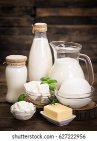 Fresh dairy products on the wooden table
