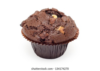 A fresh dark chocolate muffin with white chocolate chips