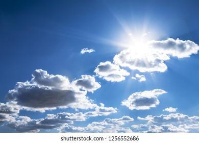 fresh day, blue sky, shiny sun