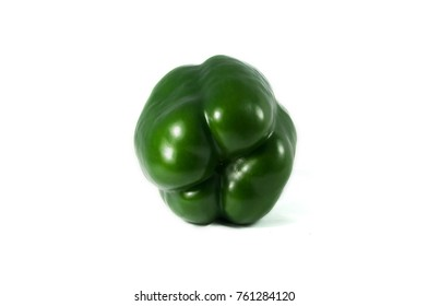 Fresh delicious bell peppers on isolated white clean background, front view, upside fruits, tropical fruits in vietnam, asia