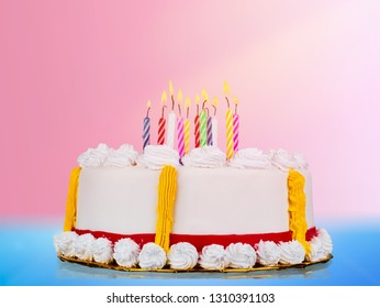 Fresh delicious birthday cake with candles
