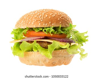 Fresh delicious burger isolated on white background