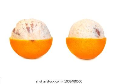 Fresh delicious grapefruit isolated on white background. Creative minimalistic food concept.